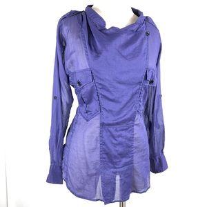 Isabel Marant Étoile Long Sleeve Sheer Purple Top